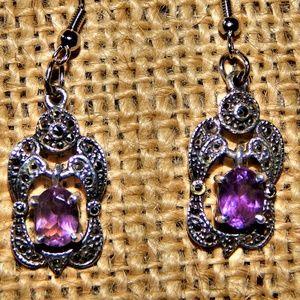 Beautiful Vintage Amethyst & Silver Drop Earrings